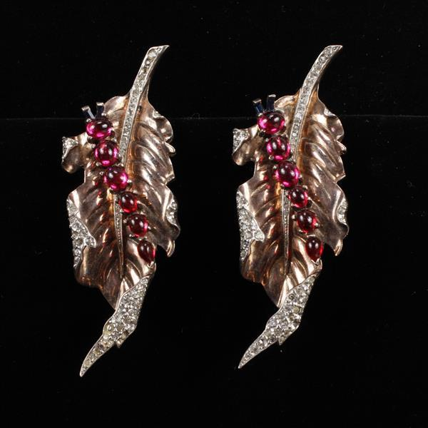 Trifari PAIR Alfred Philippe Sterling Vermeil pave and red jelly cabochon caterpillar on leaf fur clips