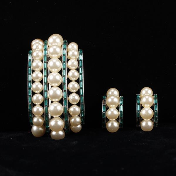 Trifari 2pc. channel set faux pearl and emerald rhinestone pin brooch and earrings.