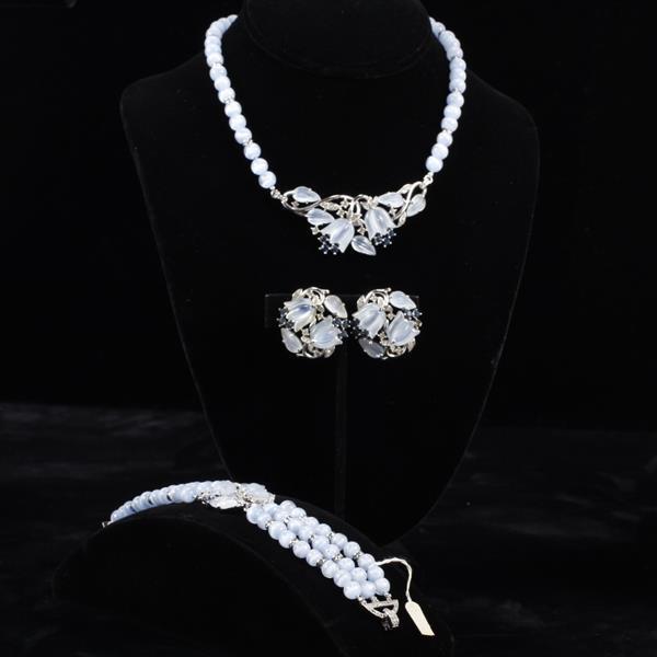 Trifari 3pc. Moonstone Necklace, Bracelet, & Clip Earrings