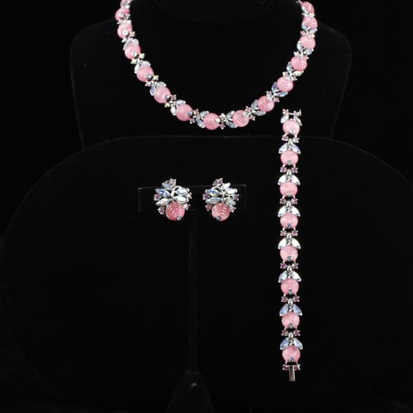 Crown Trifari 3pc. Set; Necklace, Bracelet, & Clip Earrings with pink molded glass flower and diamante rhinestones.