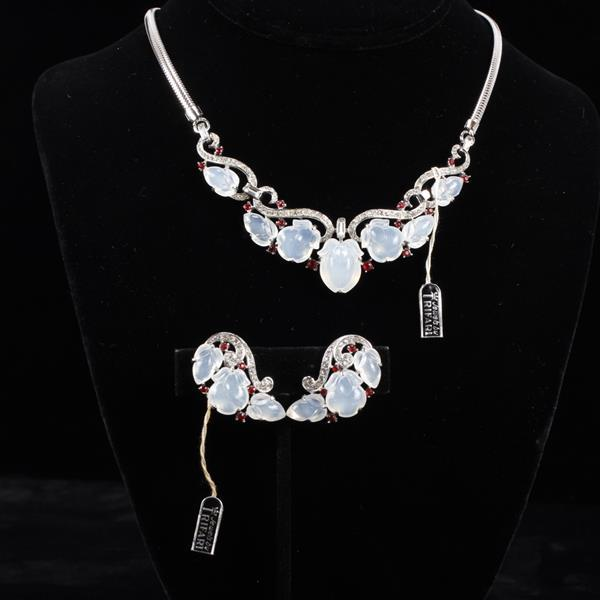 Trifari silver tone fruit salad moonstone and ruby rhinestone 2pc. set with tags; necklace and earrings.