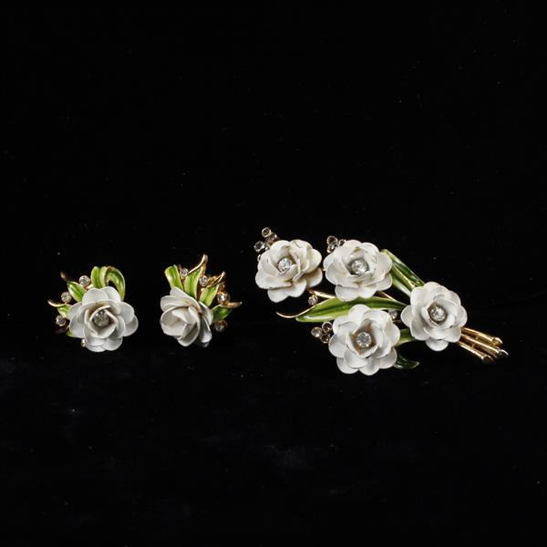 Trifari 2pc. White Enamel Rose Brooch Pin & Clip Earrings