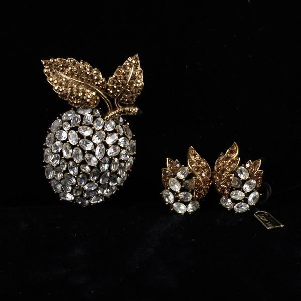 Trifari 2pc. Diamante Apple brooch pin & clip earrings.