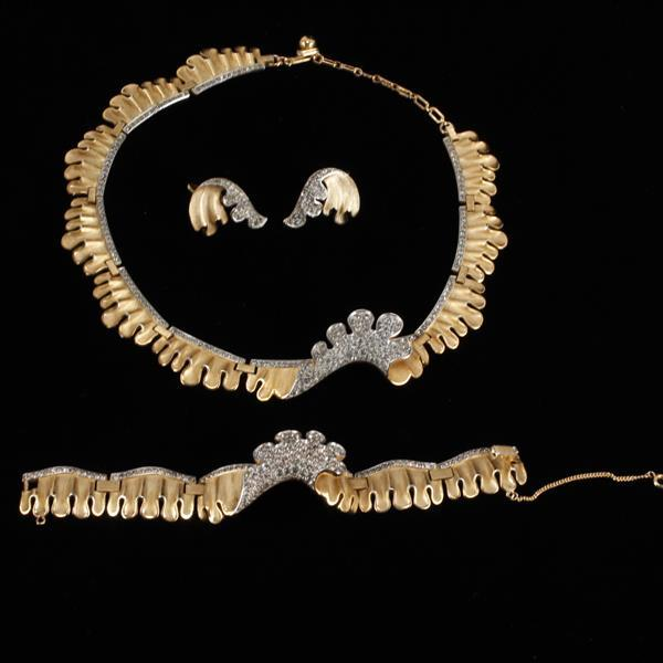 Trifari 3pc. Pave Wave set; Necklace, Bracelet, & Clip Earrings