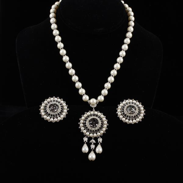 Trifari 2pc. Pearl drop & rhinestone pendant necklace with clip earrings