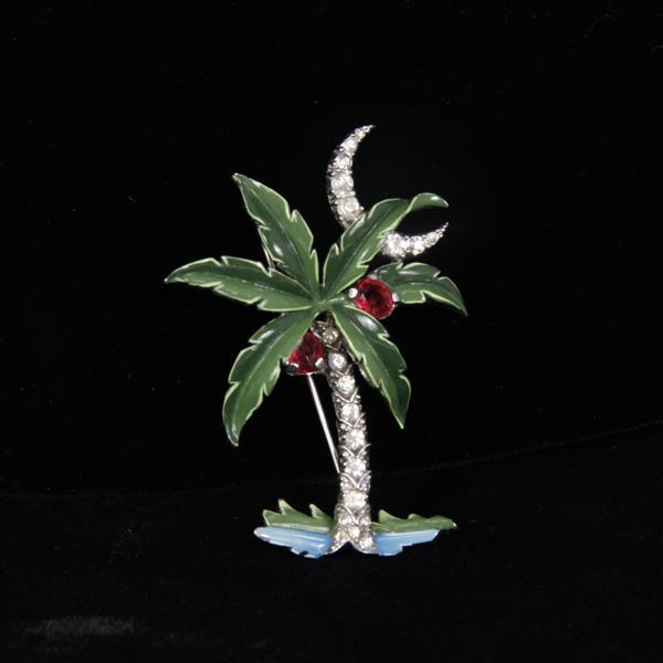 Trifari Alfred Philippe Pave Enamel Palm Tree & Crescent Moon Pin Brooch.