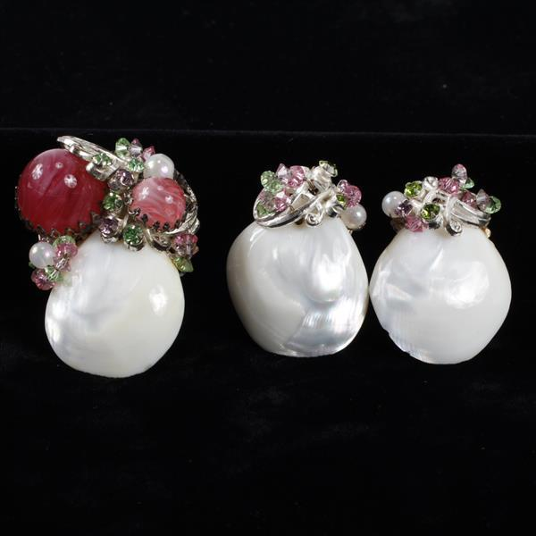 Miriam Haskell 2 pc. Mother of Pearl shell brooch pin & clip earrings