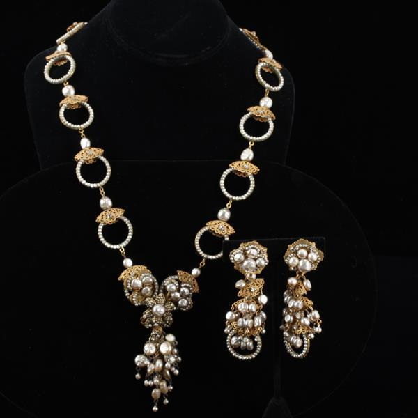 Miriam Haskell 2pc. Set; Necklace & Clip Earrings