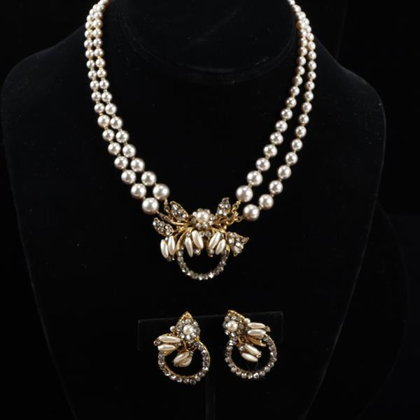 Miriam Haskell 2pc. Faux Pearl & Rhinestone Set; Necklace & Clip Earrings