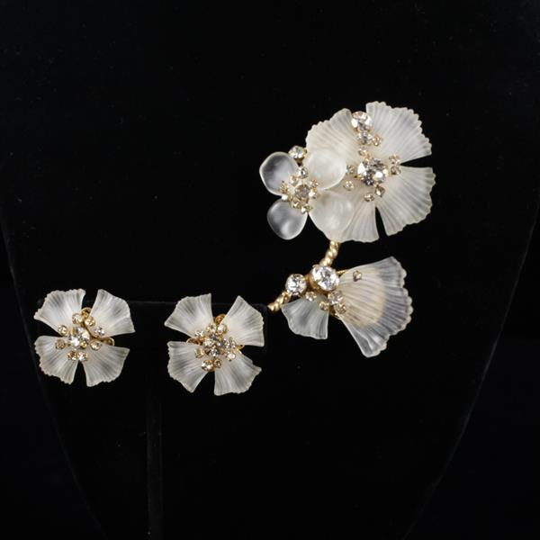 Miriam Haskell 2pc. Frosted Glass Rhinestone Flower Brooch Pin & Clip Earrings