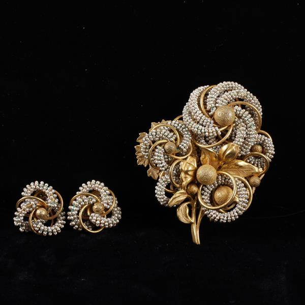Miriam Haskell 2pc. Beaded & Gilt Brooch Pin & Clip Earrings