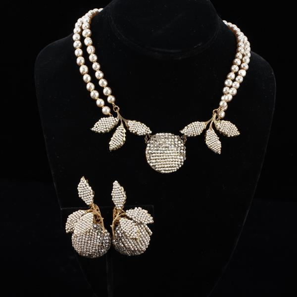 Miriam Haskell 2pc. Faux Pearl & Beaded Set; Necklace & Clip Earrings