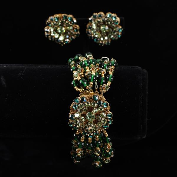 Miriam Haskell 2pc. Green Multi-strand bracelet & clip earrings