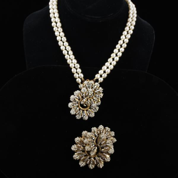 Miriam Haskell 2pc. Necklace & Brooch Pin with faux pearls