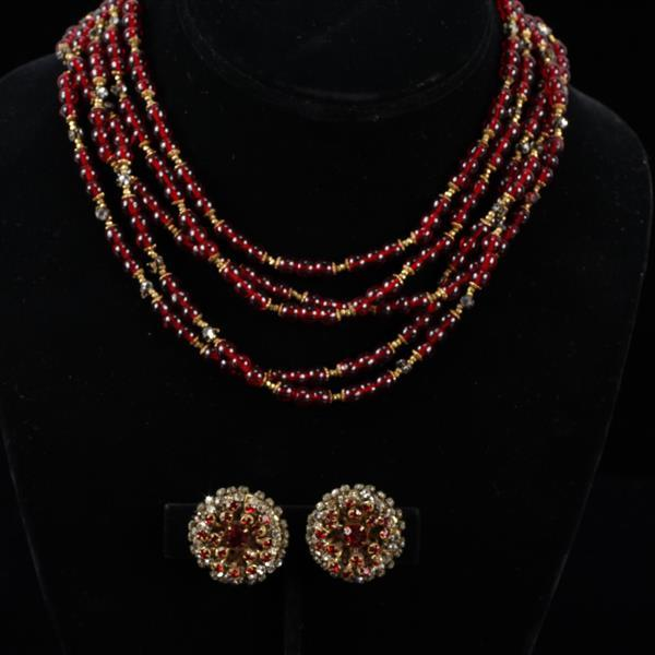 Miriam Haskell 2pc. Multi-strand Red Necklace & Clip earrings