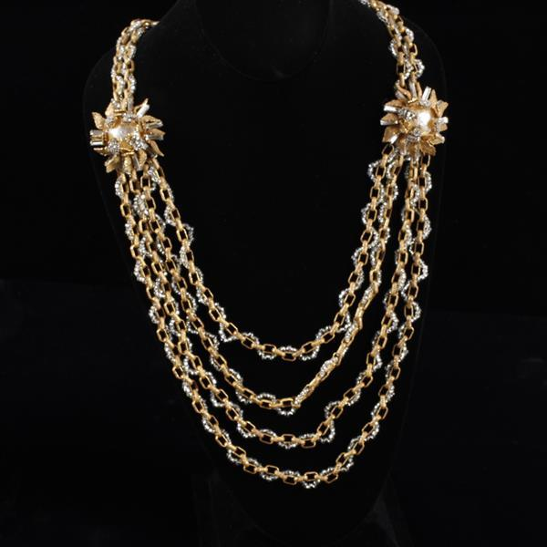 Miriam Haskell Multi-strand layered necklace