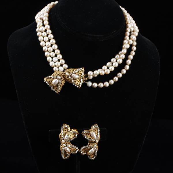Miriam Haskell 2pc. Faux Pearl & Rhinestone Set; Multi-strand Necklace & Clip Earrings
