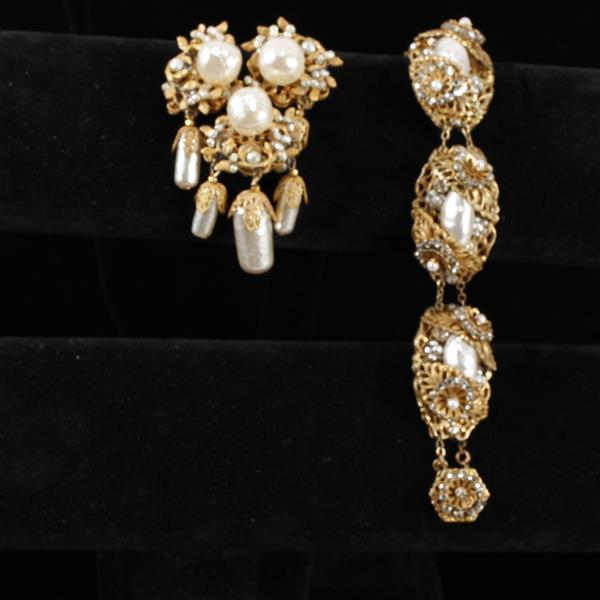 Miriam Haskell 2pc. Bracelet & Brooch Pin gilt filigree