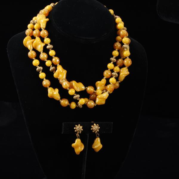 Miriam Haskell 2pc. Multi-Strand Necklace & Clip Earrings with poured yellow amber glass beads.