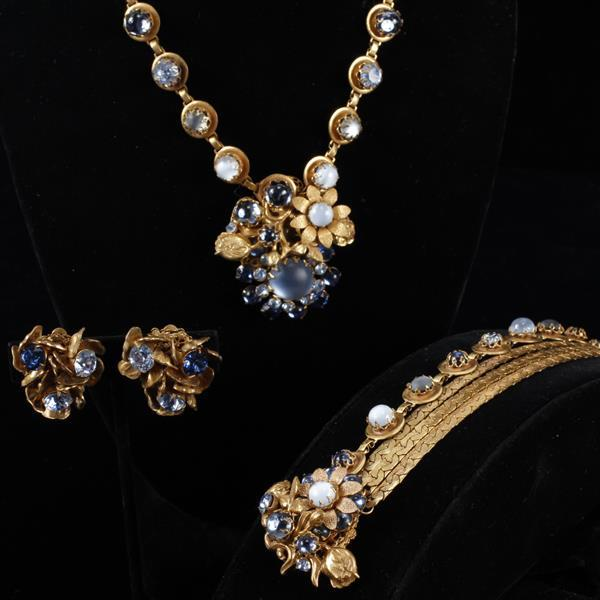 Miriam Haskell 3pc. Blue & Moonstone Glass / Rhinestone Gilt Brass Floral Necklace, Bracelet, & Clip Earrings