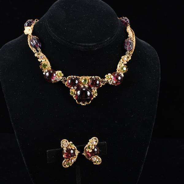 Miriam Haskell 2pc Amethyst poured glass brass filigree Necklace & Clip Earrings with early horseshoe mark; luscious plum
