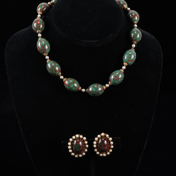 Miriam Haskell 2pc. Set; Red Green Czech glass beaded Necklace & Clip Earrings with faux pearl accents