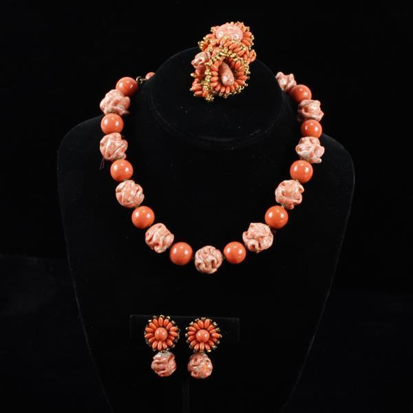 Miriam Haskell 3pc. beaded coral glass necklace, brooch pin, & clip earrings.