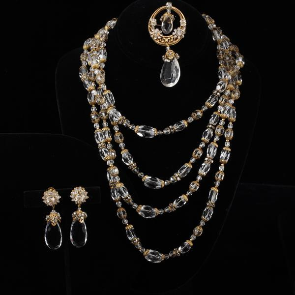 Miriam Haskell 3pc. Multi-layered necklace, Brooch pin, & Clip earrings.