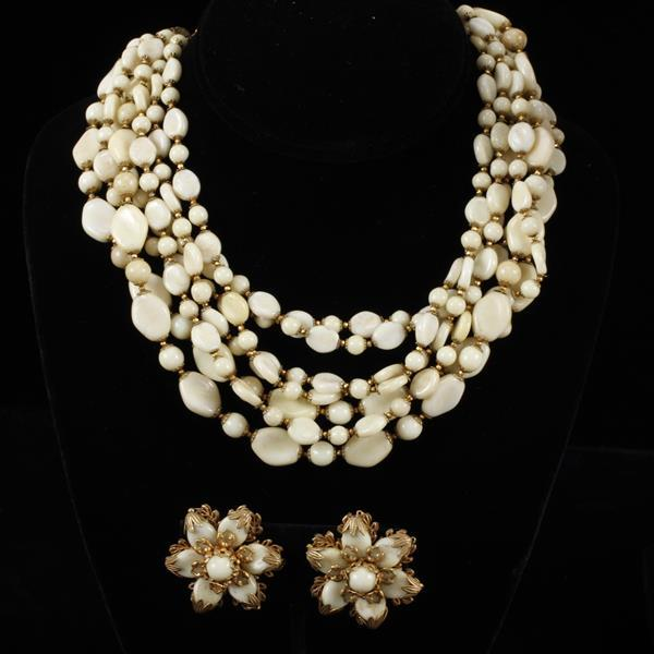 Miriam Haskell 2pc. Opaque Necklace & Floral Clip Earrings