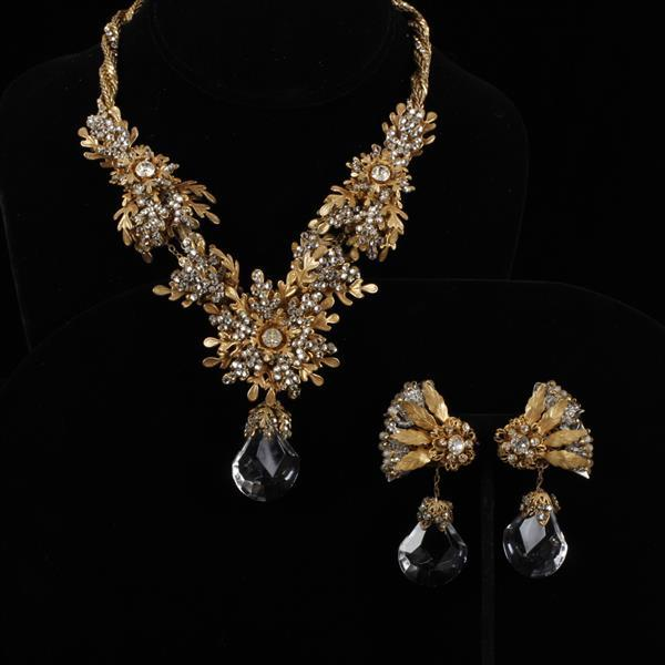 Miriam Haskell 2pc. Rhinestone & Gilt Leaves Necklace & Clip Earrings