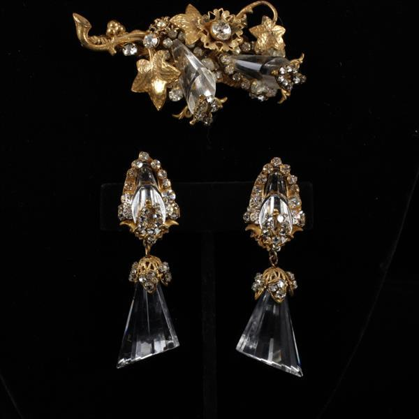 Miriam Haskell 2pc. Clear Glass Brooch Pin & Clip Earrings
