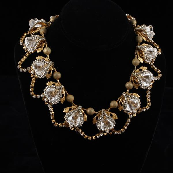 Miriam Haskell Necklace; Rhinestones & Gilt Leaves