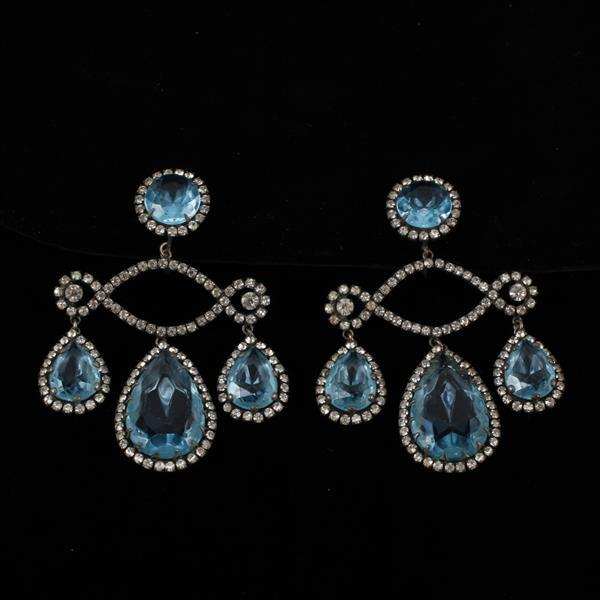 Kenneth J. Lane (KJL) Rhinestone Chandelier Clip Earrings
