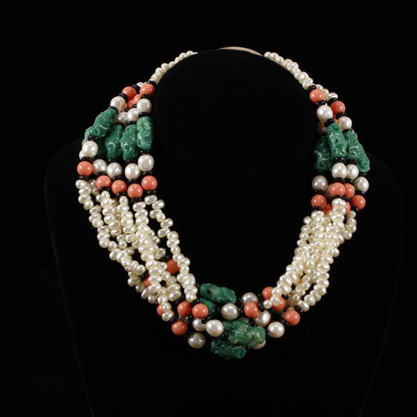 Kenneth J. Lane (KJL) multi-strand faux pearl & glass jade necklace