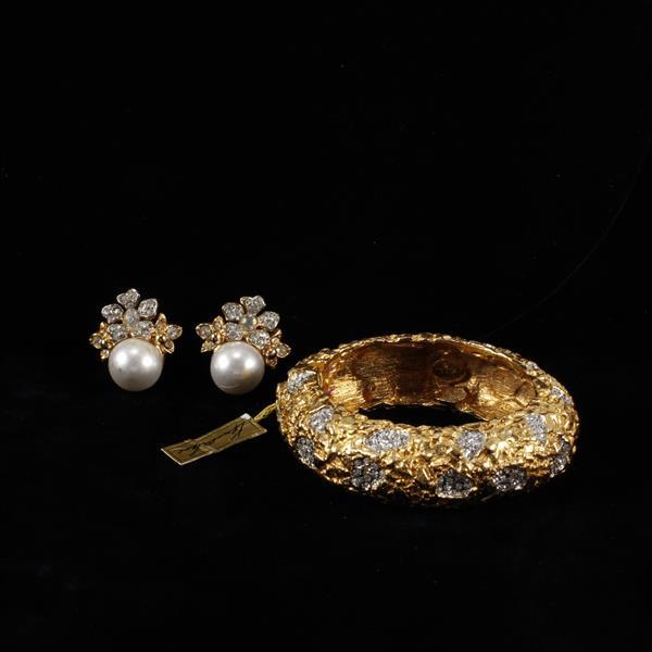 Kenneth J. Lane (KJL) Gold tone & pave bracelet & clip earrings
