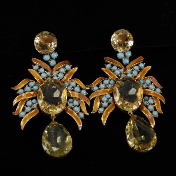 Kenneth J. Lane (KJL) Enamel & Rhinestone Chandelier Clip Earrings