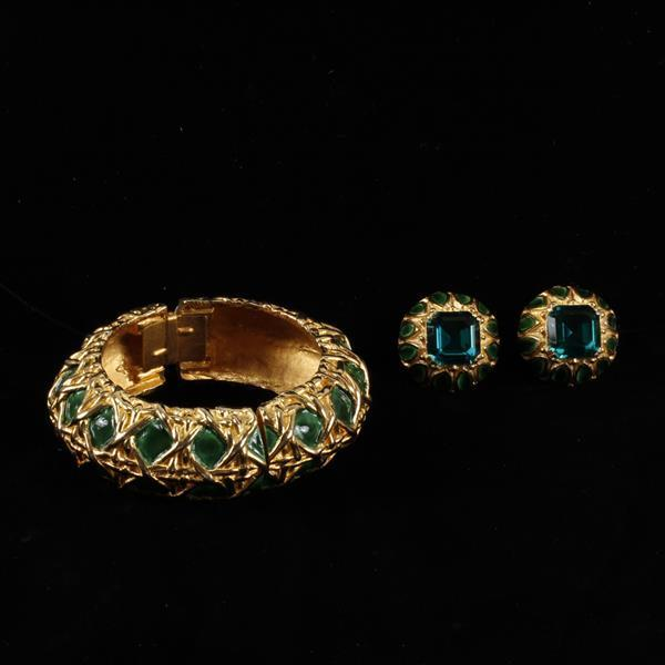 Kenneth J. Lane (KJL) Enamel & Jewel Bracelet & Clip Earrings