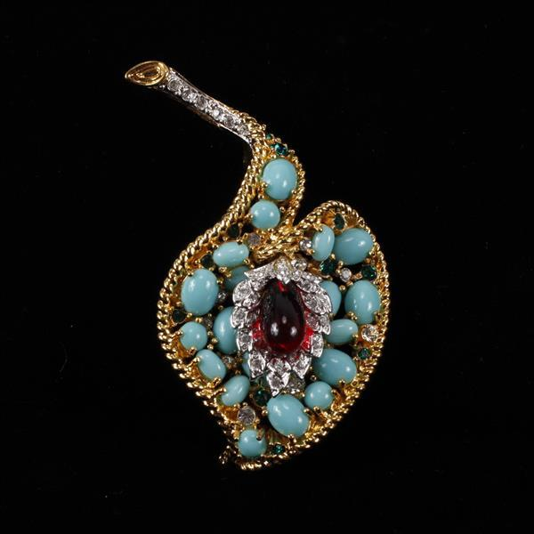 Kenneth J. Lane (KJL) Jeweled Leaf Brooch Pin