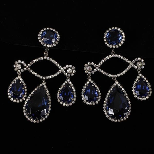 Kenneth J. Lane (KJL) Blue Jewel Rhinestone Chandelier Earrings