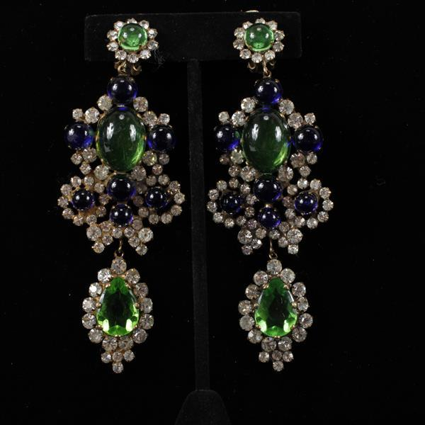 Kenneth J. Lane (KJL) Rhinestone & Glass Chandelier Earrings