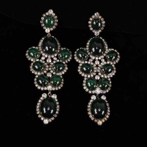 Kenneth J. Lane (KJL) Rhinestone & Glass Chandelier Earrings