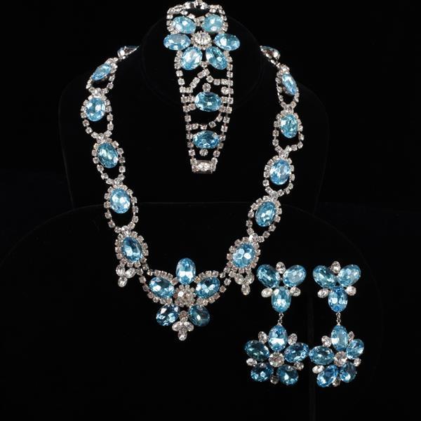 Weiss 3pc. Floral Aqua Blue Crystal Parure.