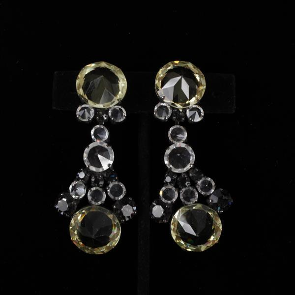 Schreiner Rhinestone Chandelier Clip Earrings