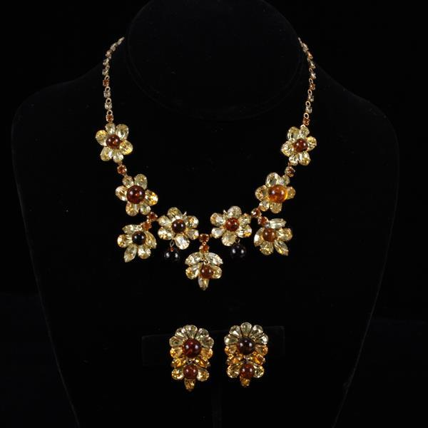 Kramer 2pc. Rhinestone & Glass Flower Necklace & Clip Earrings