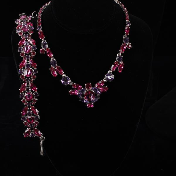Schiaparelli 2pc. Pink & Purple Rhinestone Necklace & Bracelet
