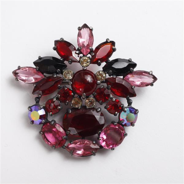 Schiaparelli Jeweled Rhinestone Brooch Pin