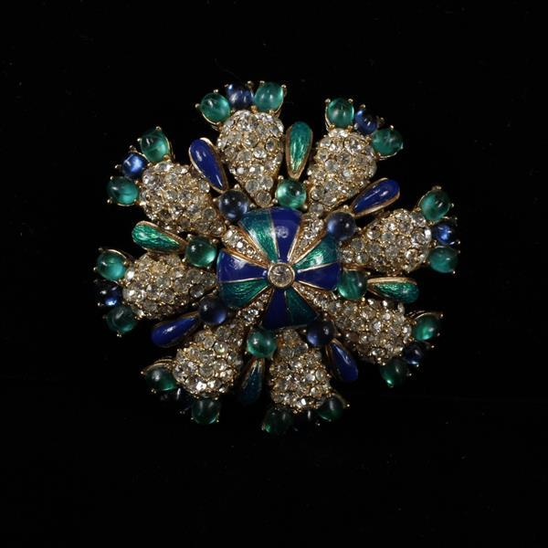 Ciner enamel and pave floral pin brooch