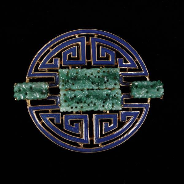 Ciner Enamel & Jade Glass Brooch Pin