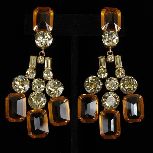 Ciner Rhinestone Chandelier Clip Earrings