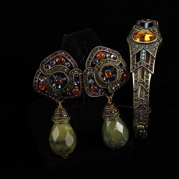 Heidi Daus 2pc. Bracelet & Clip Earrings
